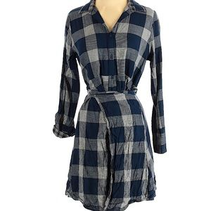 Collared Blue Plaid/Checkered Shirtdress